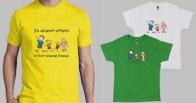 Tshirt avec dessin de famille heureuse
