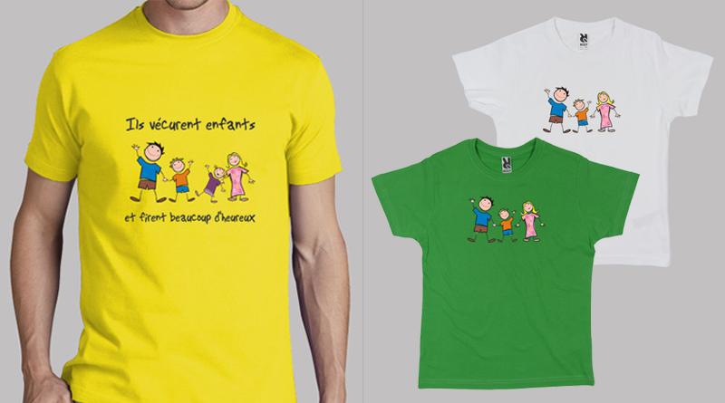 Tshirt avec dessin famille heureuse tshirts personnalis s - Tee shirt avec photo personnalise ...