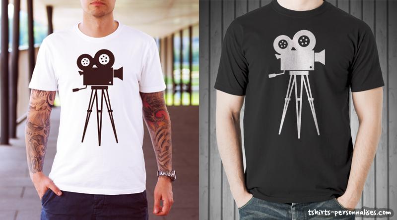 Tshirt avec caméra de cinéma rétro